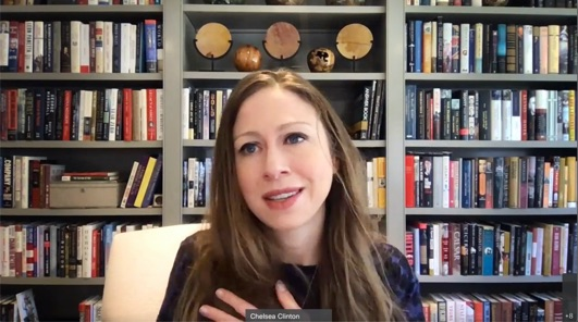 Chelsea Clinton speaking in video call